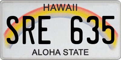 HI license plate SRE635
