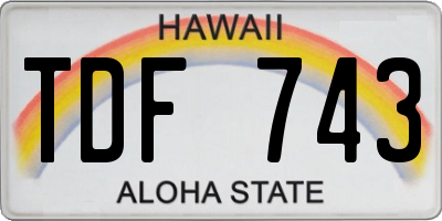 HI license plate TDF743