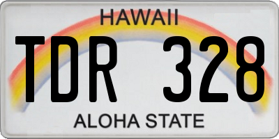 HI license plate TDR328