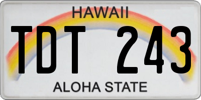 HI license plate TDT243