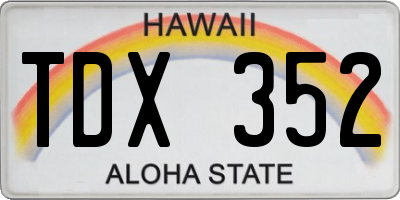 HI license plate TDX352
