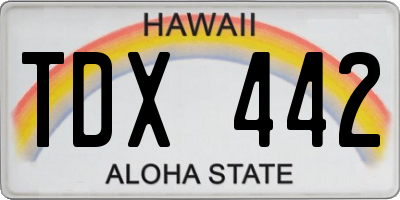 HI license plate TDX442