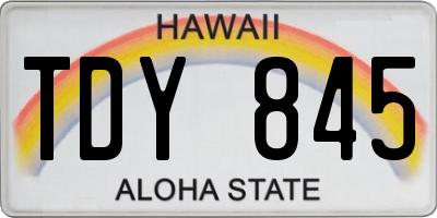 HI license plate TDY845