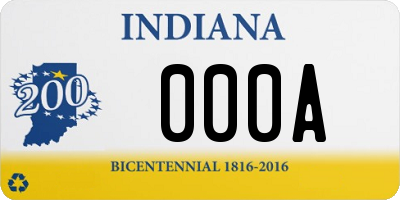 IN license plate 000A