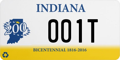 IN license plate 001T