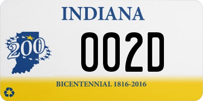 IN license plate 002D