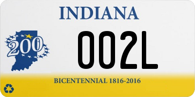IN license plate 002L