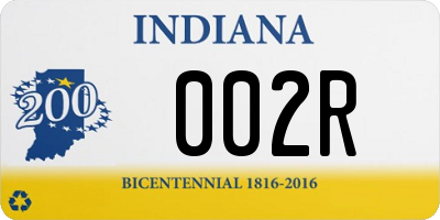 IN license plate 002R