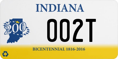 IN license plate 002T