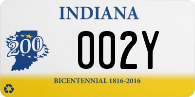 IN license plate 002Y