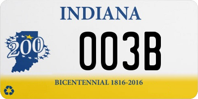 IN license plate 003B