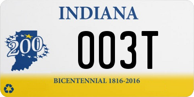 IN license plate 003T