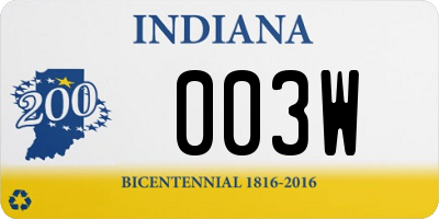 IN license plate 003W