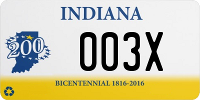 IN license plate 003X