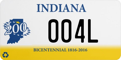 IN license plate 004L