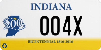 IN license plate 004X