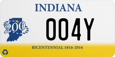 IN license plate 004Y