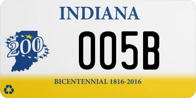 IN license plate 005B