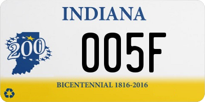 IN license plate 005F