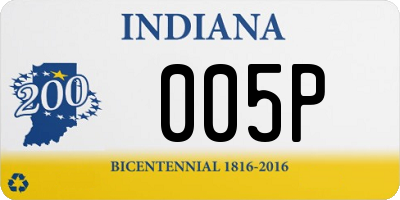 IN license plate 005P