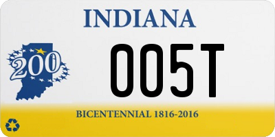 IN license plate 005T