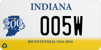 IN license plate 005W