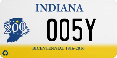 IN license plate 005Y