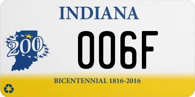 IN license plate 006F