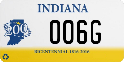 IN license plate 006G
