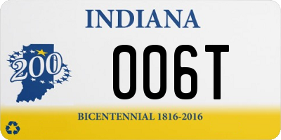 IN license plate 006T