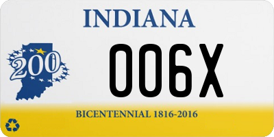 IN license plate 006X