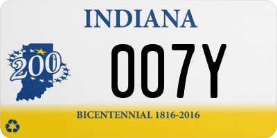 IN license plate 007Y