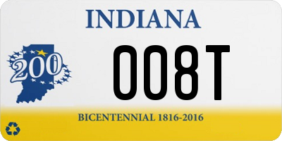 IN license plate 008T