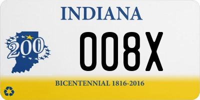 IN license plate 008X