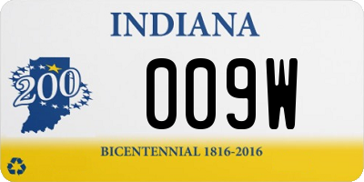 IN license plate 009W