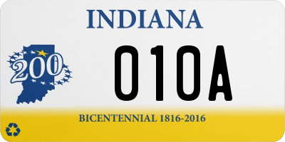 IN license plate 010A