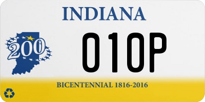 IN license plate 010P