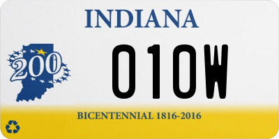 IN license plate 010W