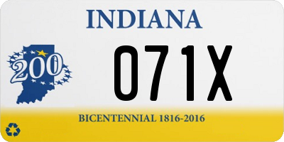 IN license plate 071X