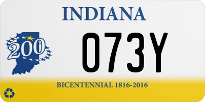 IN license plate 073Y