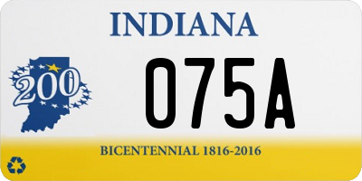 IN license plate 075A