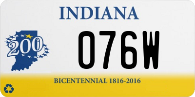 IN license plate 076W