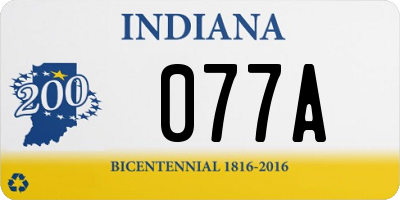 IN license plate 077A