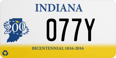 IN license plate 077Y
