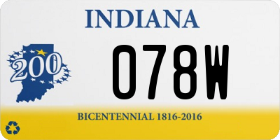 IN license plate 078W