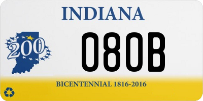 IN license plate 080B