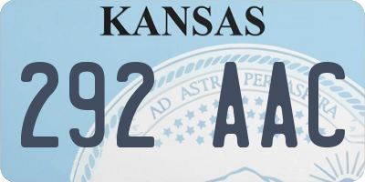 KS license plate 292AAC