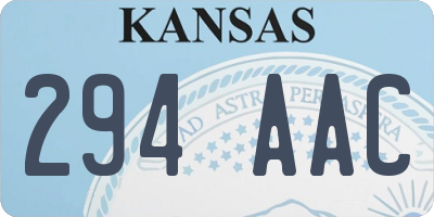 KS license plate 294AAC
