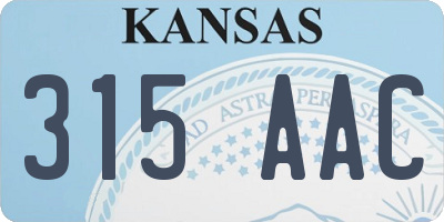 KS license plate 315AAC