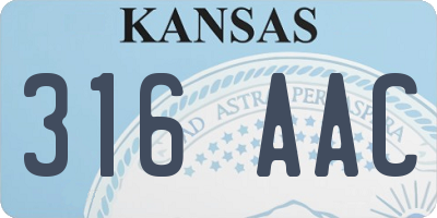 KS license plate 316AAC